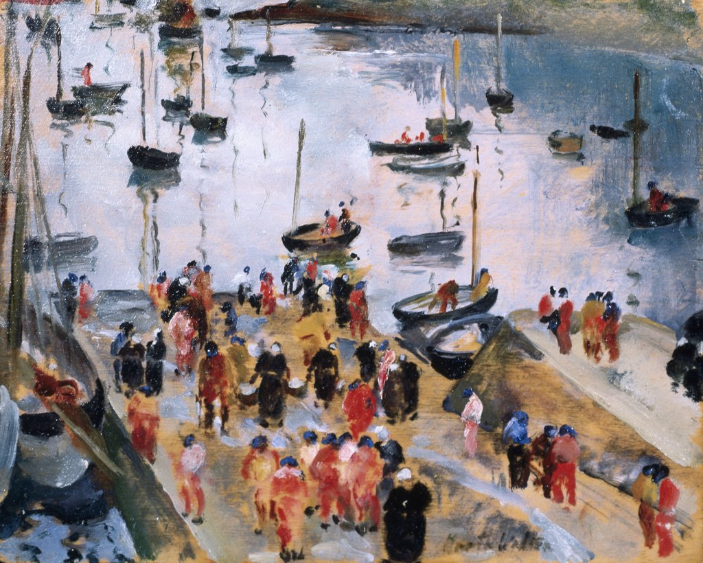 Stock Photo: 849-10093 The Docks by Martha Walter, oil on wood panel, 1914, 1875-1976, USA, Pennsylvania, Philadelphia, David David Gallery