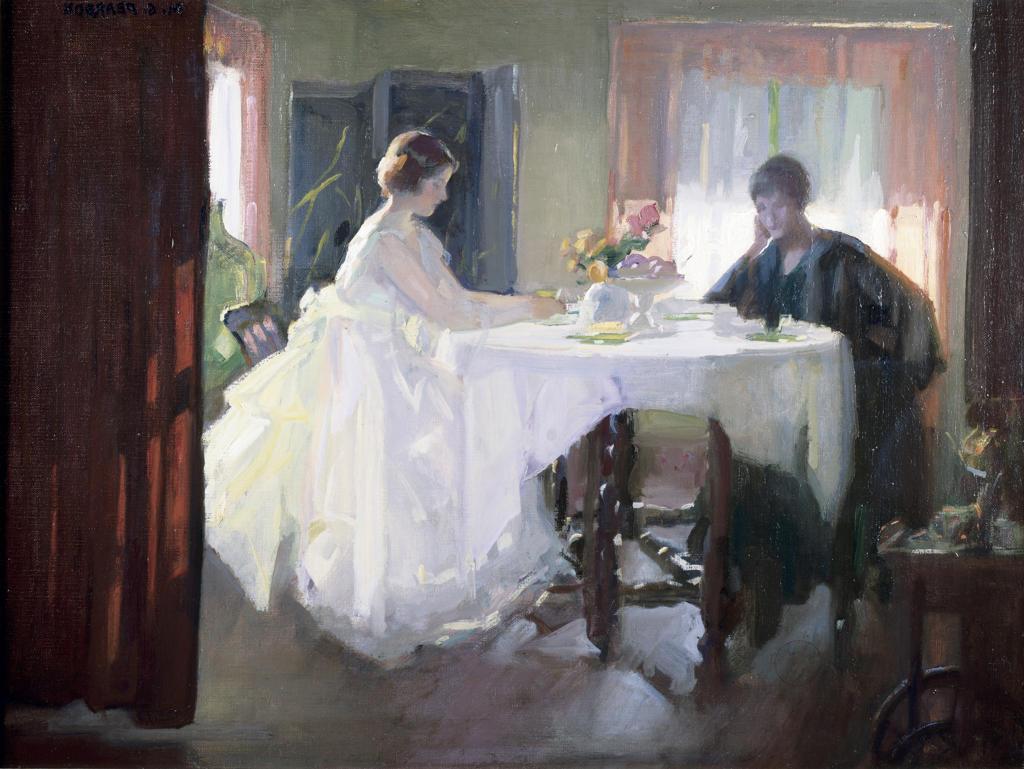 Two women sitting by table in sunny room,  USA,  Pennsylvania,  Philadelphia,  David David Gallery : Stock Photo