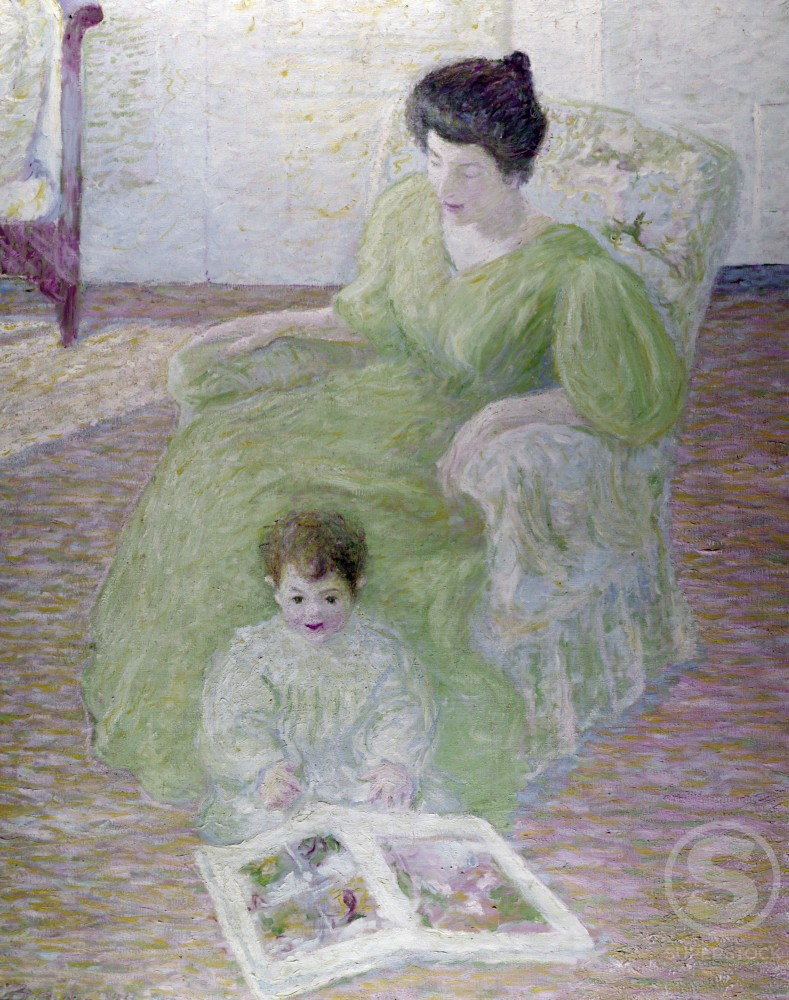 Mother and Child by Theodore Earl Butler,  oil on canvas,  (1876-1937),  USA,  Pennsylvania,  Philadelphia,  David David Gallery : Stock Photo