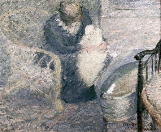 Baby's Bath by Theodore Hall Butler,  (1876-1937),  USA,  Pennsylvania,  Philadelphia,  David David Gallery : Stock Photo