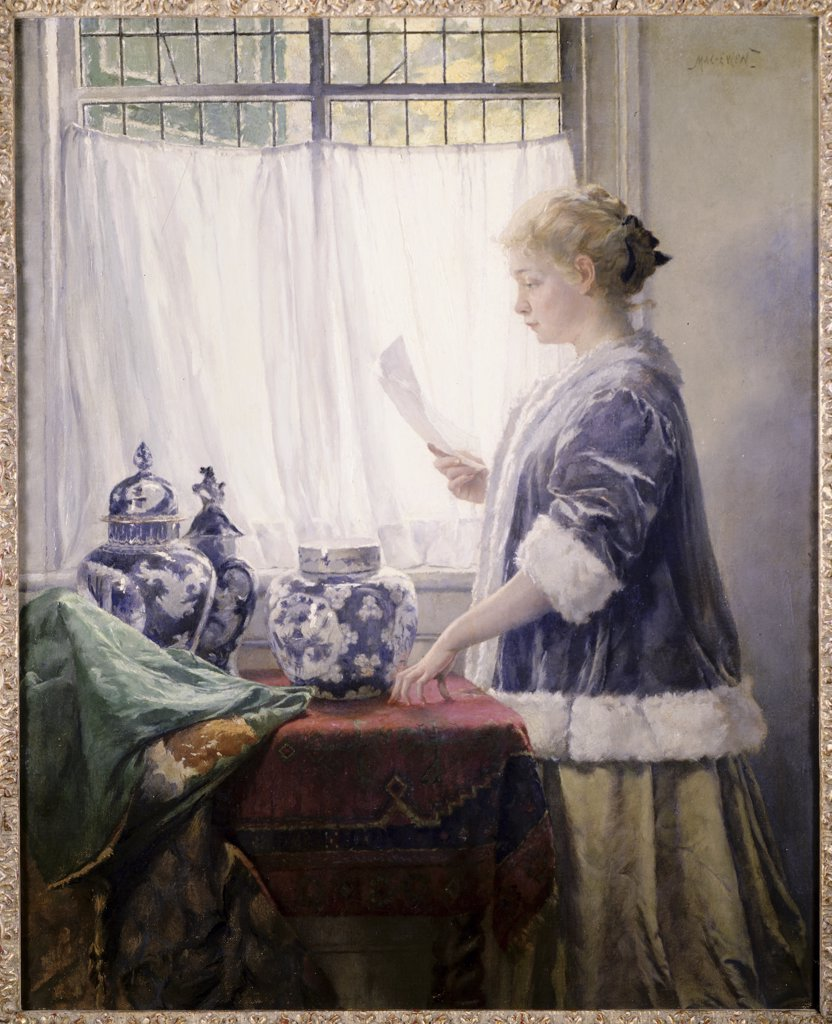 The Letter by Walter MacEwen, oil on canvas, 1860-1943, USA, Pennsylvania, Philadelphia, David David Gallery : Stock Photo