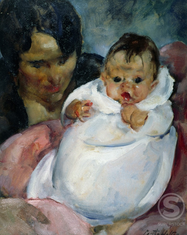 Stock Photo: 849-10196 Baby in White Blanket by Martha Walter, oil on wood panel, 1920, 1875-1976, USA, Pennsylvania, Philadelphia, David David Gallery