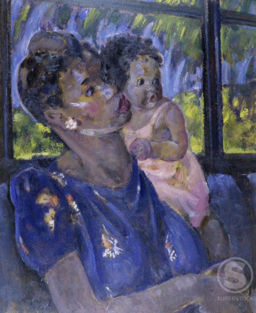 Mother and Child by Martha Walter, oil on board, 1919, 1875-1976, USA, Pennsylvania, Philadelphia, David David Gallery : Stock Photo