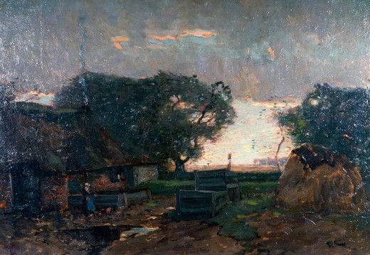 Dusk by Henry Ward Ranger,  oil on wood panel,  (1856-1916),  USA,  Pennsylvania,  Philadelphia,  David David Gallery : Stock Photo