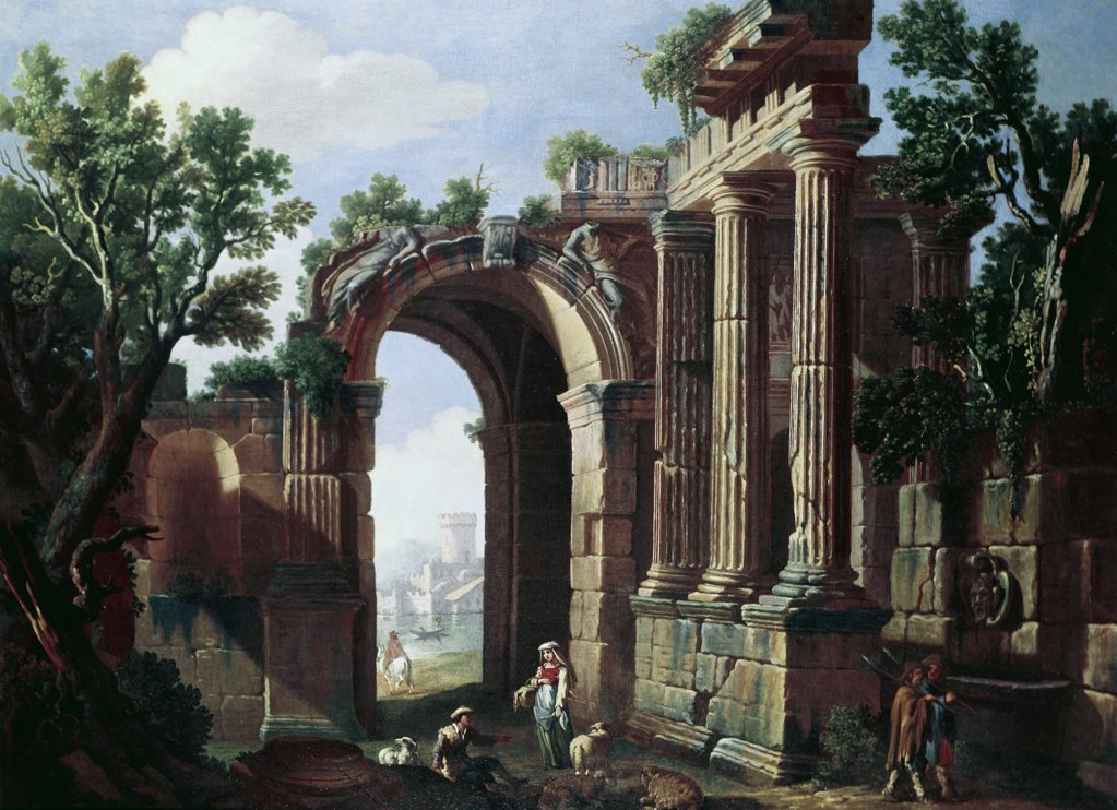 Stock Photo: 849-10273 The Ruins 18th Century Artist Unknown (Italian) Oil On Canvas David David Gallery, Philadelphia, Pennsylvania, USA