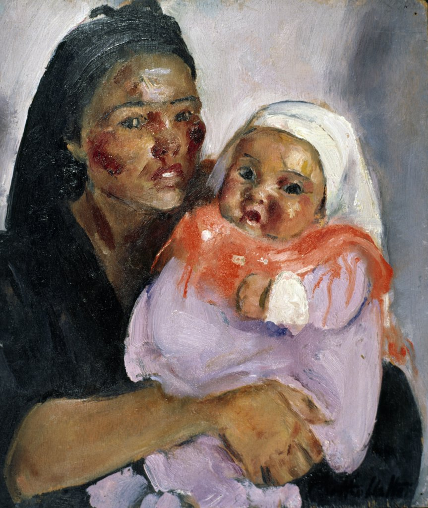 Mother and Baby by Martha Walter,  oil on board,  1925,  (1875-1976),  USA,  Pennsylvania,  Philadelphia,  David David Gallery : Stock Photo
