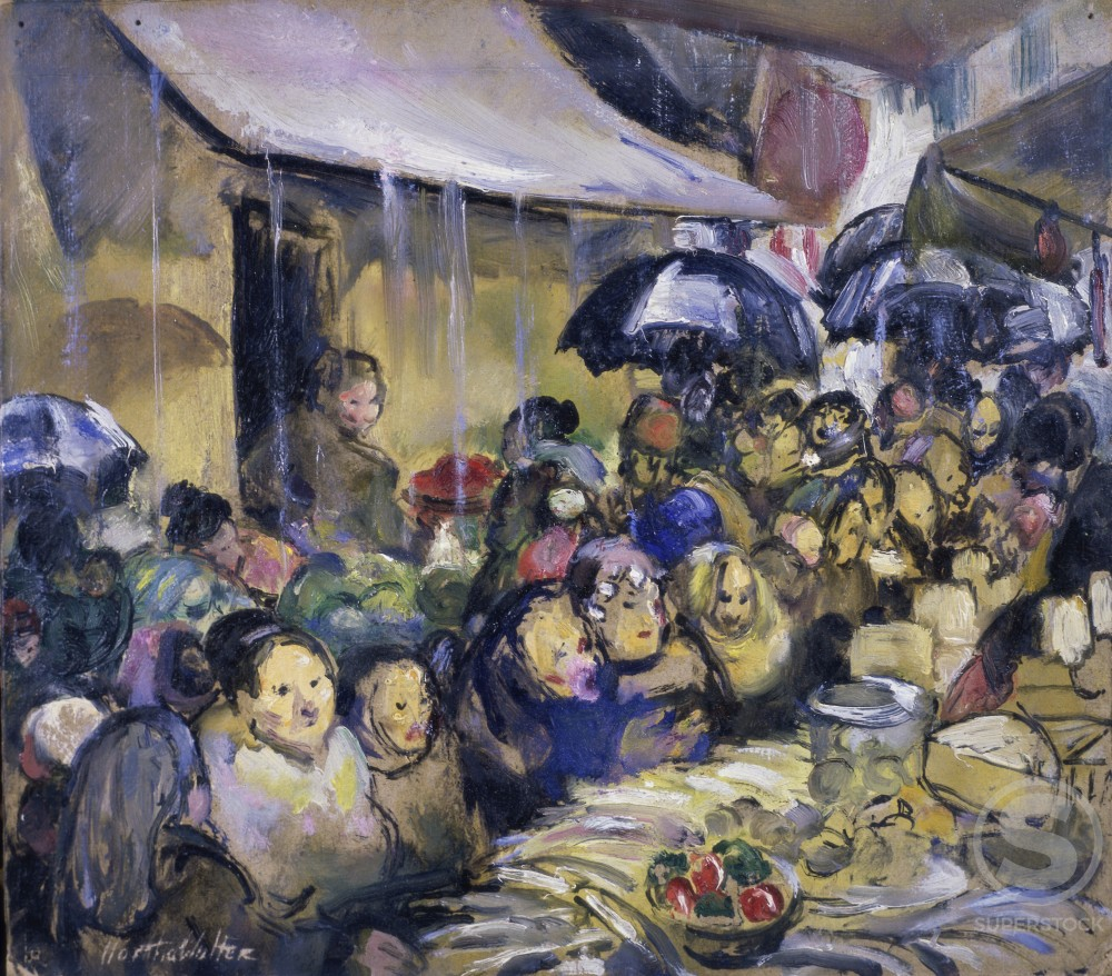 Rainy Day in the Street Market, Marseilles, by Martha Walter, 1928, 1875-1976, USA, Pennsylvania, Philadelphia, David David Gallery : Stock Photo