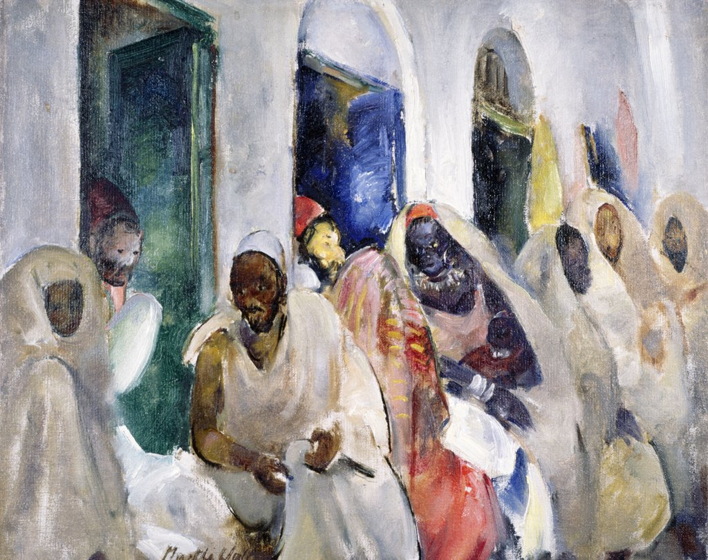 Shopping in Souk,  Tripoli by Martha Walter,  oil on board,  1935,  (1875-1976),  USA,  Pennsylvania,  Philadelphia,  David David Gallery : Stock Photo