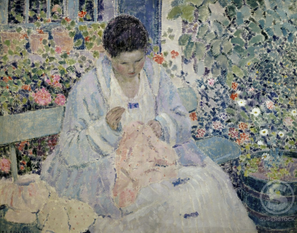 Stock Photo: 849-10352 Woman Sewing in a Garden 
