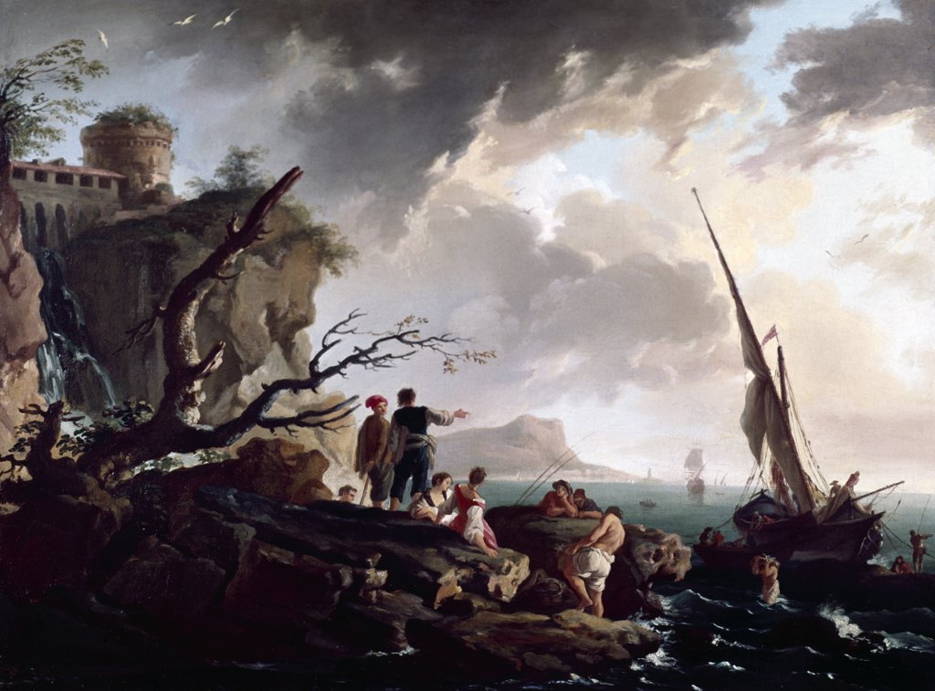 Stock Photo: 849-10378 Journey's End, Vernet, Claude-Joseph (1714-1789/French), Oil on canvas, David David Gallery, Philadelphia, Pennsylvania USA