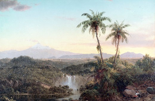 Stock Photo: 849-10399 South American Landscape by Frederic Edwin Church,  oil on canvas,  (1826-1900),  USA,  Pennsylvania,  Philadelphia,  David David Gallery