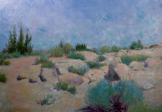 Desert Hillside by Frank Reed Whiteside (1866-1926 ), USA, Pennsylvania, Philadelphia, David David Gallery : Stock Photo