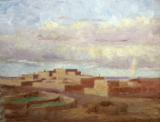 Stock Photo: 849-10426 Rainbow, Zuni Village
