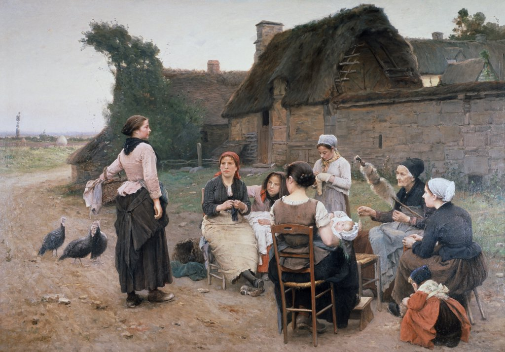 Stock Photo: 849-10445 Peasant Women Chatting; Normandy Wencelas de Broczik (19th C. Czechoslovakia) Oil On Canvas David David Gallery, Philadelphia, Pennsylvania USA