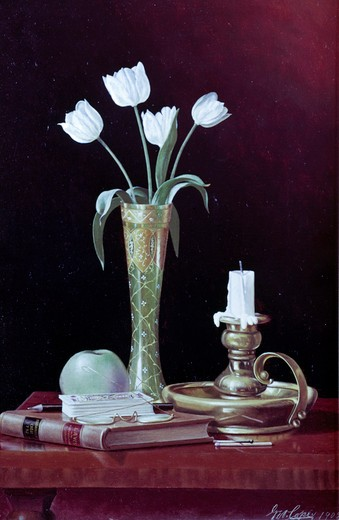 Stock Photo: 849-10451 White Tulips by George Cope,  Oil on wood panel,  (1855-1929),  USA,  Pennsylvania,  Philadelphia,  David David Gallery