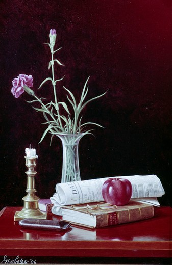 Stock Photo: 849-10452 Red Carnations by George Cope,  Painting,  (1855-1929),  USA,  Pennsylvania,  Philadelphia,  David David Gallery
