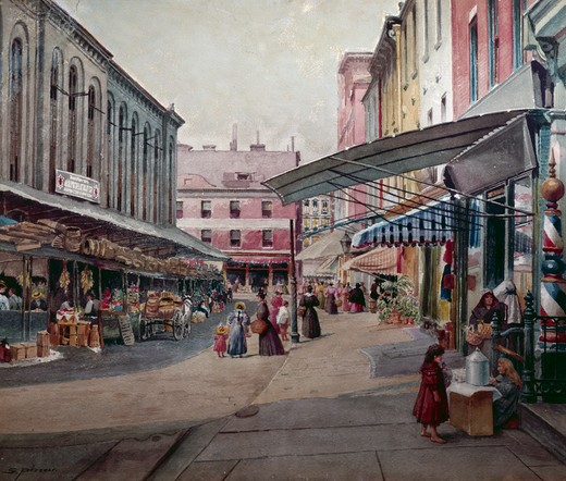 Stock Photo: 849-10498 The Marketplace by S. Pezzoli,  painted image,  19th century,  USA,  Pennsylvania,  Philadelphia,  David David Gallery