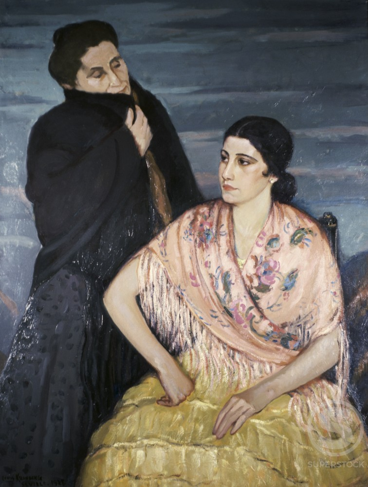 Maria and her Mother by Louis Kronberg, oil on canvas, 1928, 1872-1965, USA, Pennsylvania, Philadelphia, David David Gallery : Stock Photo