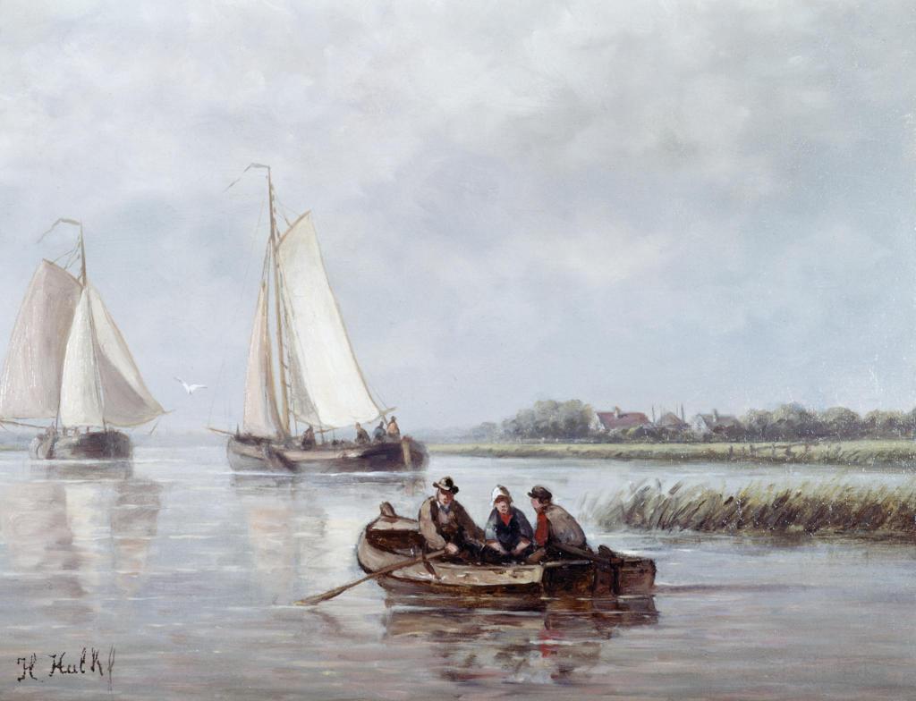 Rowing Out, S.L.L., Hendrik Hulk, (1842-1937/Dutch), Oil On Wood Panel, David David Gallery, Philadelphia, Pennsylvania, USA : Stock Photo