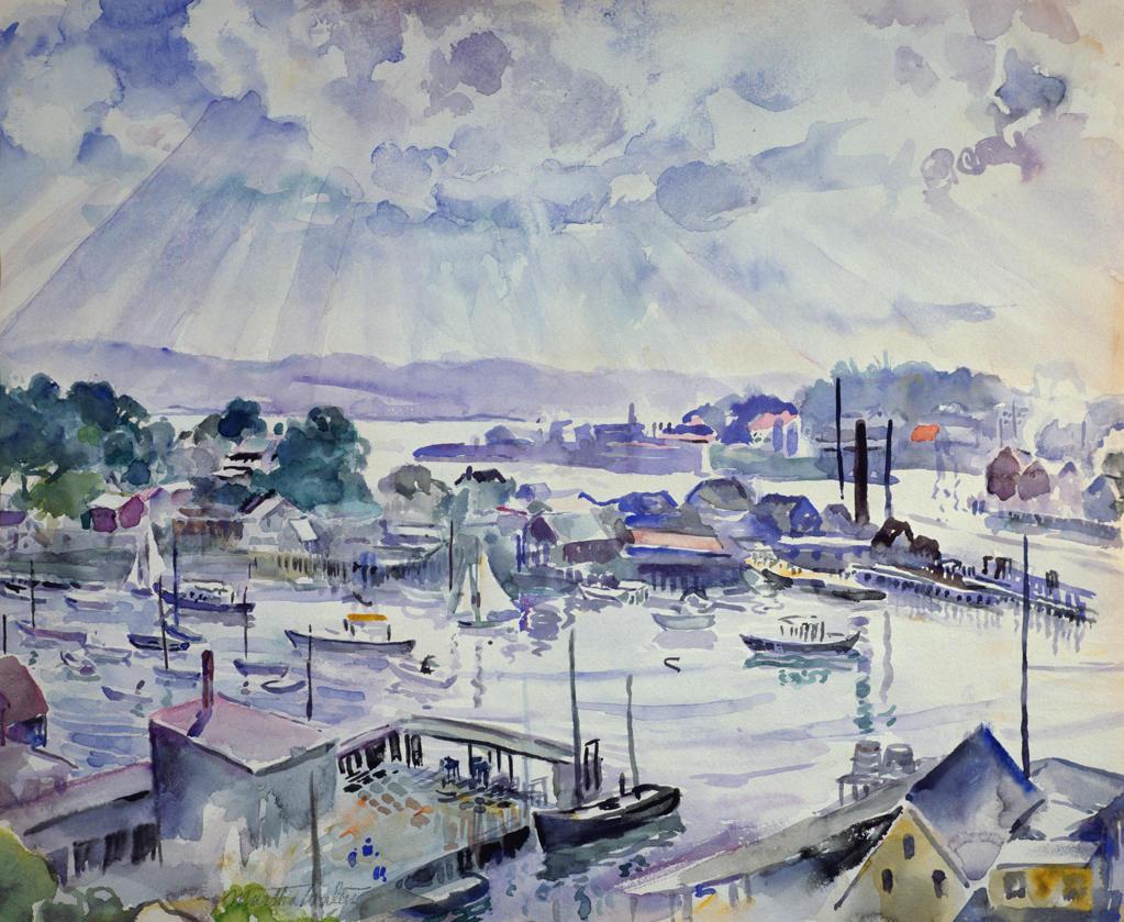 Rocky Neck by Martha Walter, watercolor, 1930, 1875-1976, USA, Pennsylvania, Philadelphia, David David Gallery : Stock Photo
