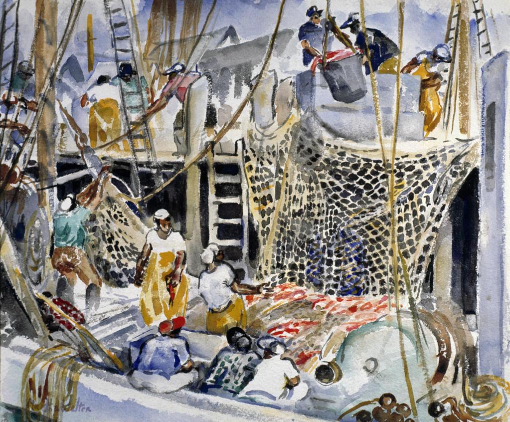 Stock Photo: 849-10586 The Catch by Martha Walter, watercolor, 1930, 1875-1976, USA, Pennsylvania, Philadelphia, David David Gallery