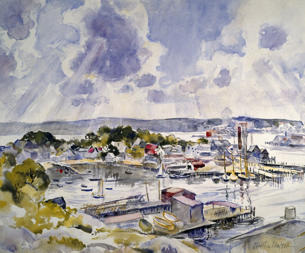 Stock Photo: 849-10595 View From Hilltop by Martha Walter,  watercolour,  1925,  (1875-1976),  USA,  Philadelphia,  Pennsylvania,  David David Gallery