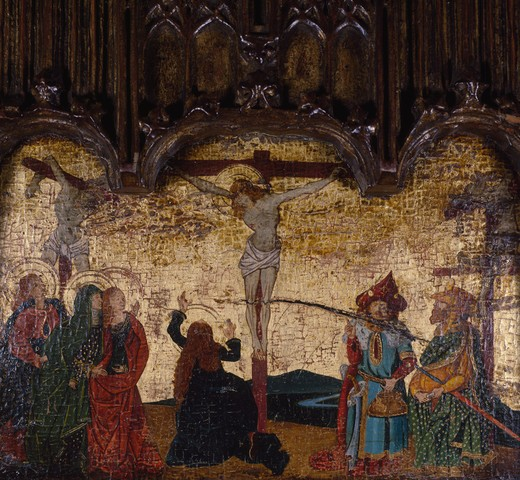 Stock Photo: 849-10647 Crucifixion by unknown French artist,  triptych,  center panel,  oil on wood,  17th century,  USA,  Pennsylvania,  Philadelphia,  David David Gallery