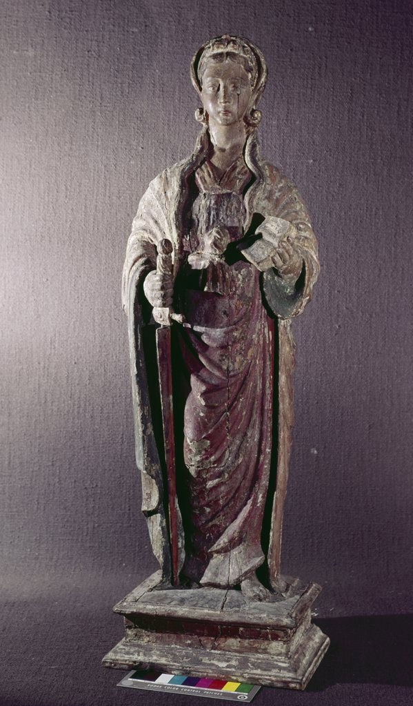 Stock Photo: 849-10649 Female Saint by unknown French artist,  sculpture,  polychromed wood,  17th century,  USA,  Pennsylvania,  Philadelphia,  David David Gallery