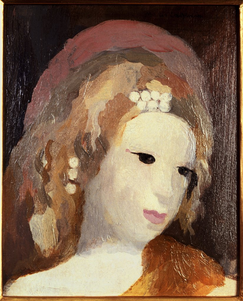 Head of a Young Girl by Marie Laurencin, oil on board, 1883-1956, USA, Pennsylvania, Philadelphia, David David Gallery : Stock Photo