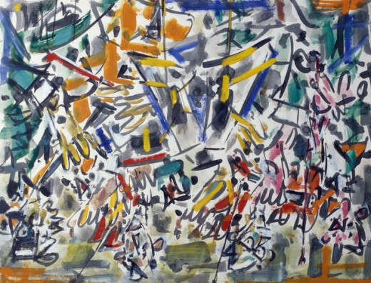 Stock Photo: 849-10691 Abstraction by Jean-Paul Riopelle, oil on canvas, 1923-Present, USA, Pennsylvania, Philadelphia, David David Gallery