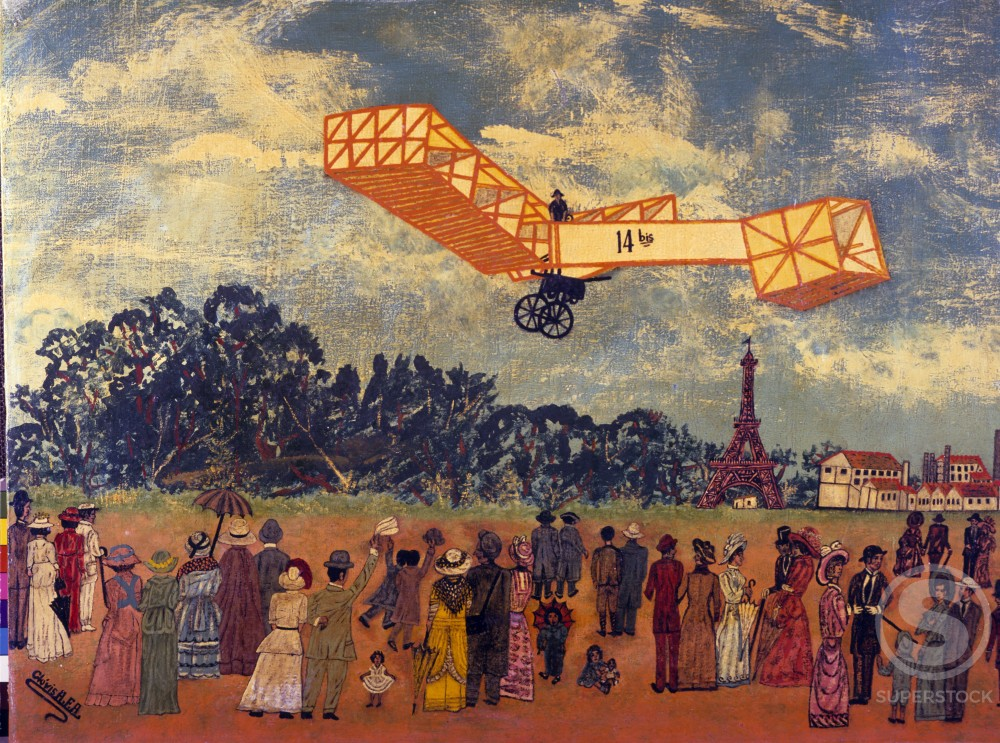 France,  Ile-de-France,  Paris,  Biplane flight,  performance,  painted image : Stock Photo