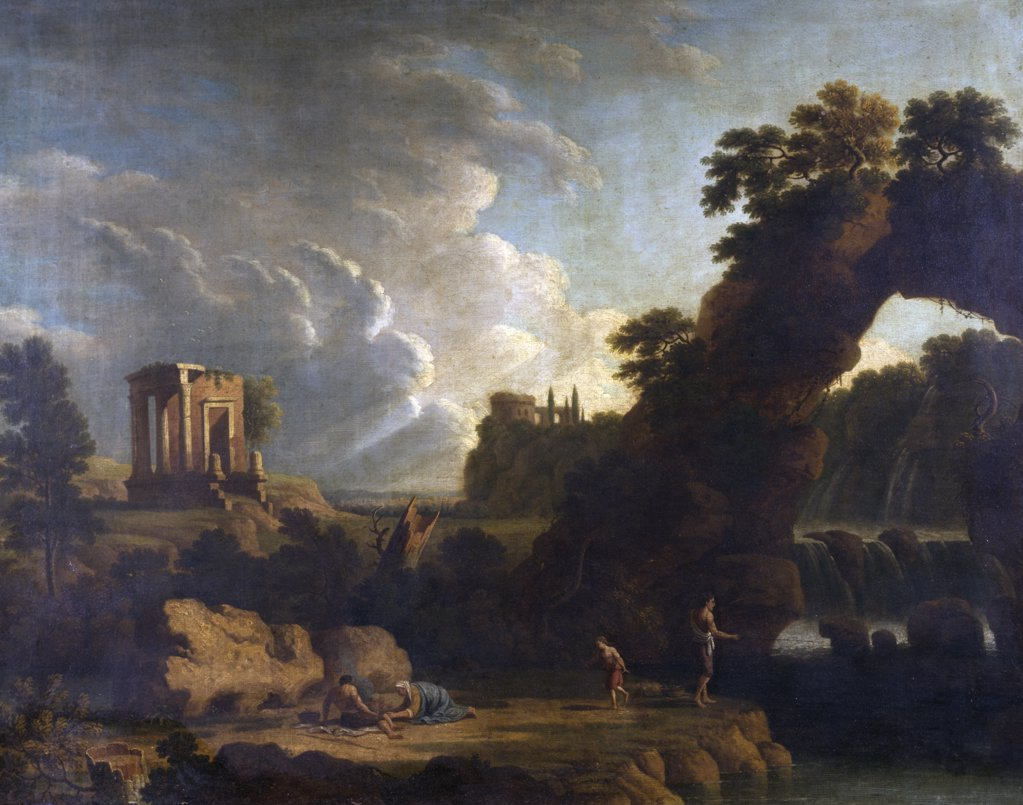 Stock Photo: 849-10714 Natural Bridge by unknown artist,  oil on canvas,  18th Century,  USA,  Philadelphia,  Pennsylvania,  David David Gallery