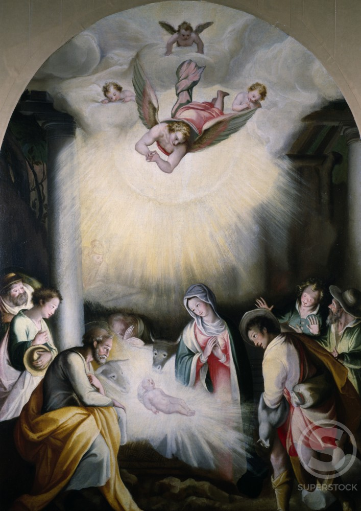 Stock Photo: 849-10728 Holy Birth,  artist unknown,  Fresco,  USA,  Pennsylvania,  Philadelphia,  David Daivd Gallery