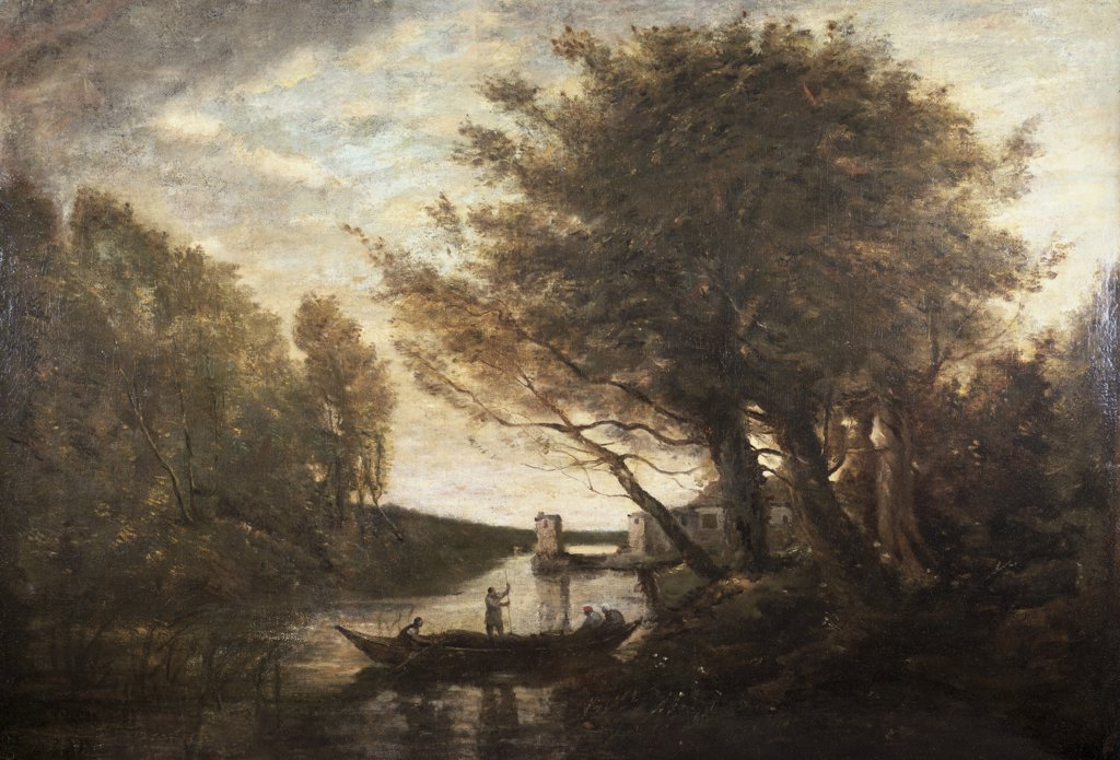 Stock Photo: 849-10744 Rowing To Shore Jean-Baptiste-Camille Corot (1796-1875 French) Oil On Canvas David David Gallery, Philadelphia,Pennsylvania USA
