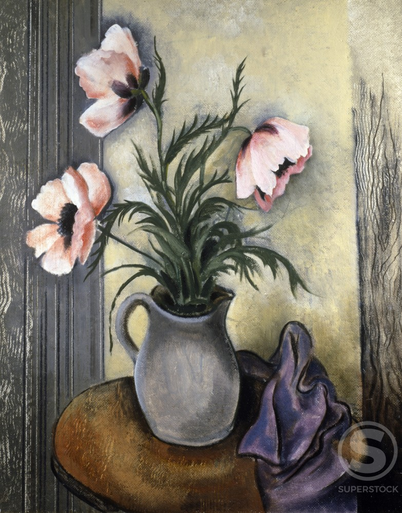 Stock Photo: 849-10771 Pink Flowers in a Grey Vase by unknown artist,  oil on canvas,  20th Century,  USA,  Philadelphia,  Pennsylvania,  David David Gallery