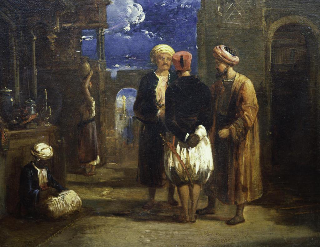 Three Men in Turbans Talking,  Painting : Stock Photo