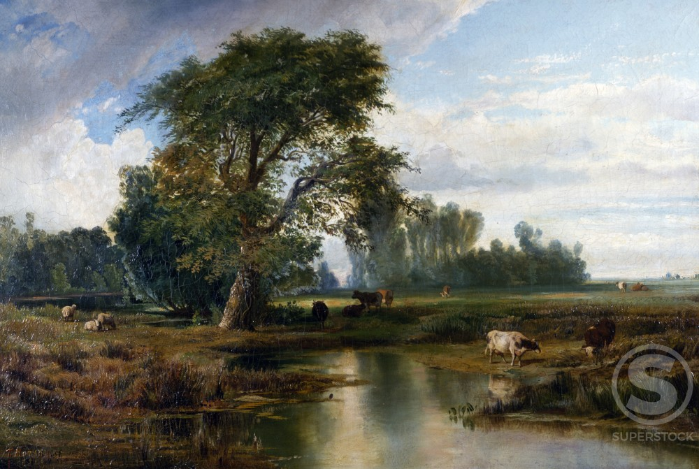 Summer Day by Thomas Moran (1837-1926 ), oil on canvas, 1856, USA, Pennsylvania, Philadelphia, David David Gallery : Stock Photo