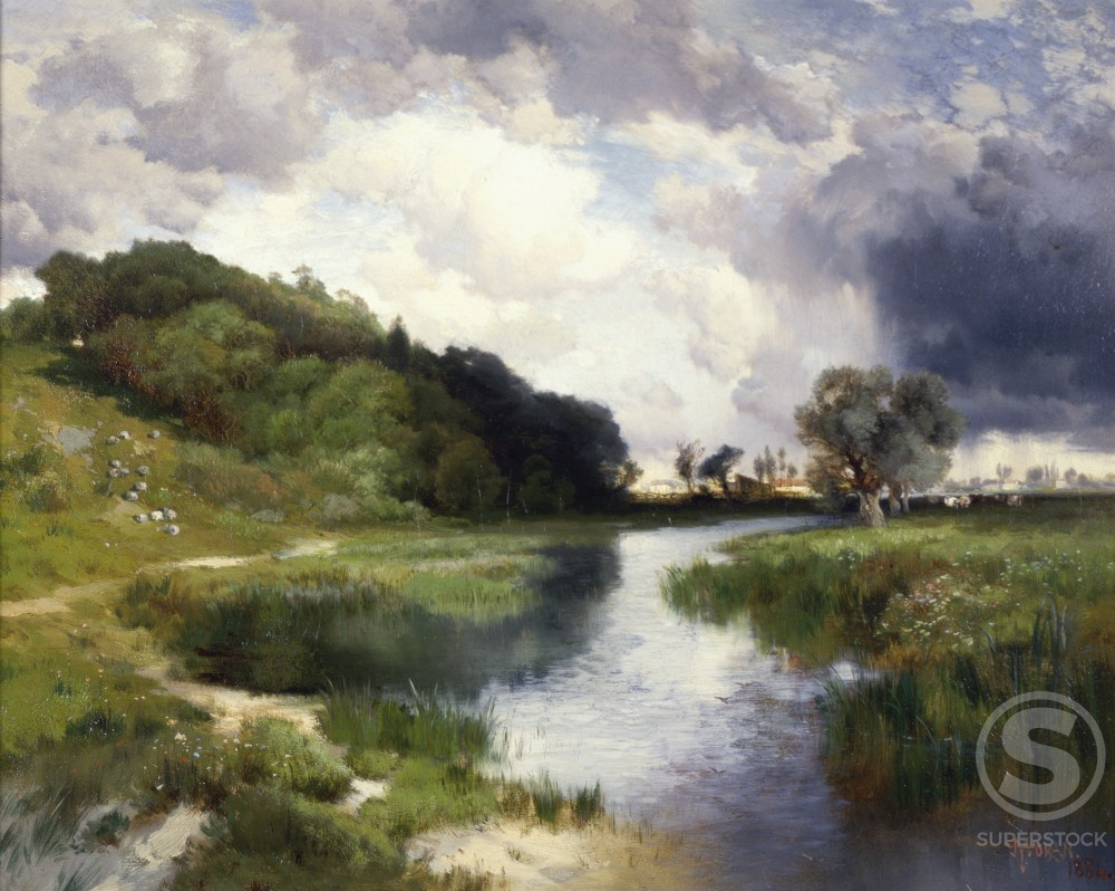 Stock Photo: 849-10880 Approaching Storm, Amagansett  1884 Thomas Moran (1837-1926/American)  Oil on canvas David David Gallery, Philadelphia