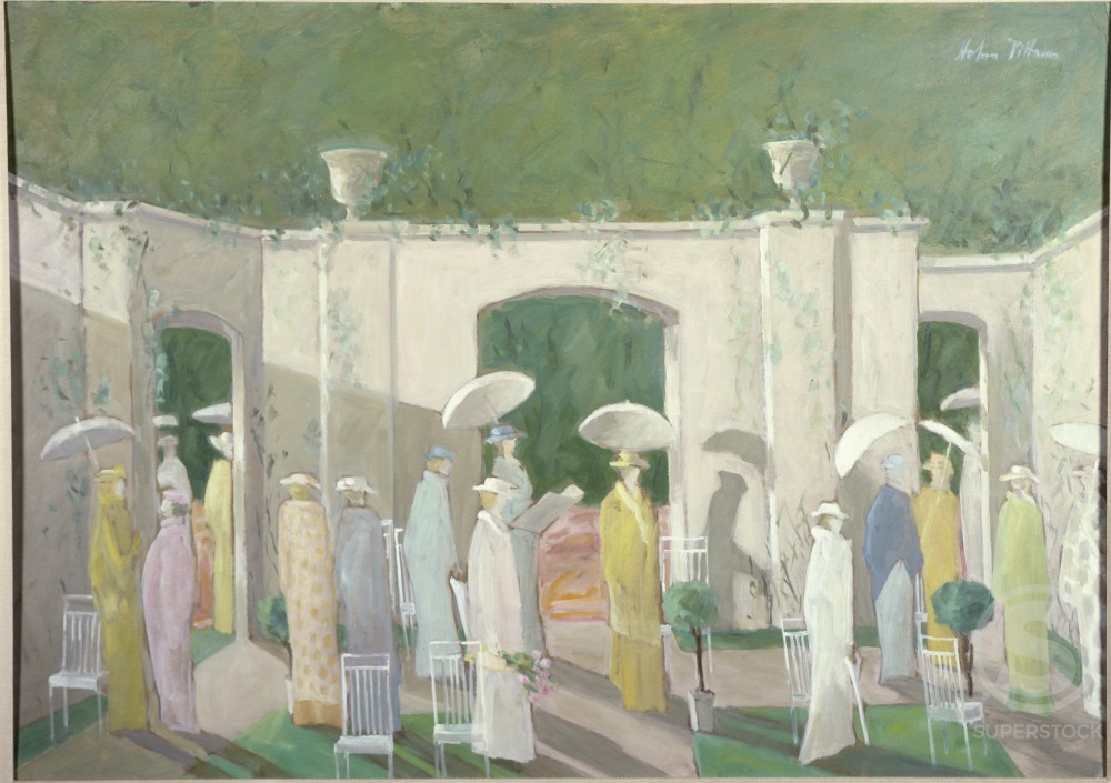 Stock Photo: 849-10936 Garden Party by Hobson Pittman, oil on wood panel, 1899-1972, USA, Pennsylvania, Philadelphia, David David Gallery