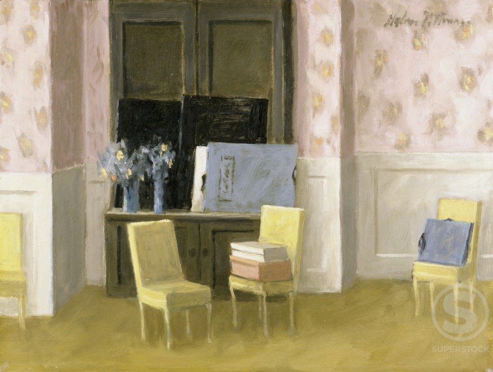 Stock Photo: 849-10943 Interior with Chairs by Hobson Pittman, oil on wood panel, 1889-1972, USA, Pennsylvania, Philadelphia, David David Gallery