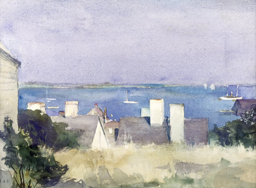 Stock Photo: 849-10981 Looking to the Water by Alice Kent Stoddard,  watercolor,  1935,  1884-1976,  USA,  Pennsylvania,  Philadelphia,  David David Gallery