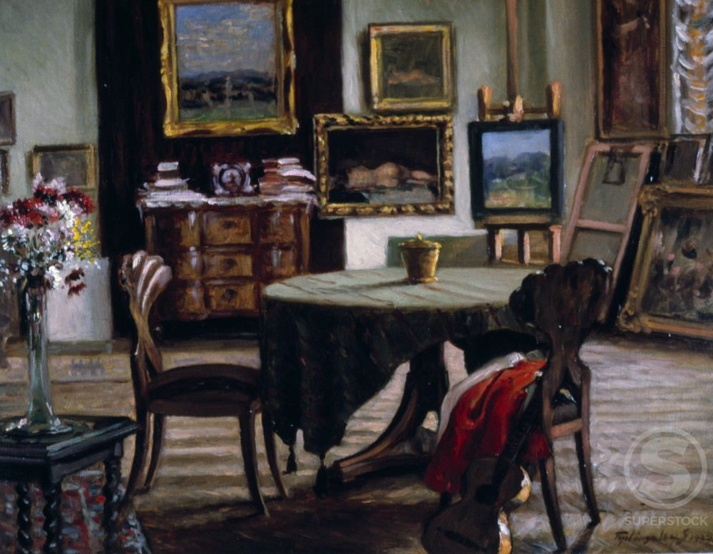 Stock Photo: 849-11021 Studio Interior by Sandor Teplansky,  oil on canvas,  (b.1886),  USA,  Pennsylvania,  Philadelphia,  David David Gallery