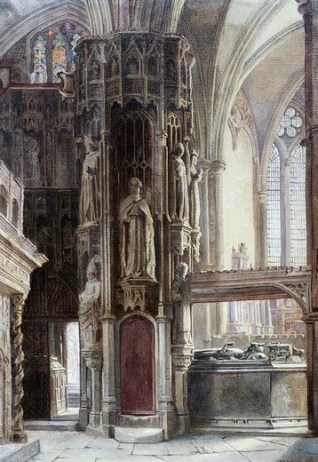 Stock Photo: 849-11026 Church Interior by unknown painter,  oil on wood panel,  (19th century),  USA,  Pennsylvania,  Philadelphia,  David David Gallery,  Artist Unknown