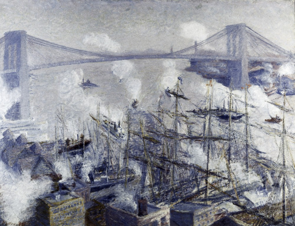 Stock Photo: 849-11037 New York Harbor by Theodore Earl Butler,  oil on canvas,  (1861-1937)