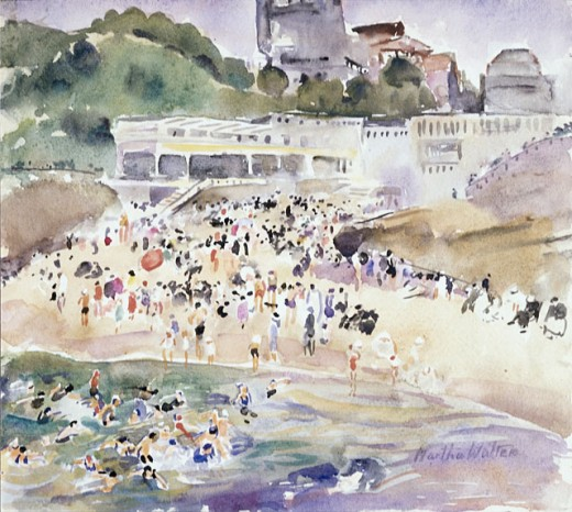 Stock Photo: 849-11045 Casino by the Sea by Martha Walter, watercolor, 1875-1976, USA, Pennsylvania, Philadelphia, David David Gallery