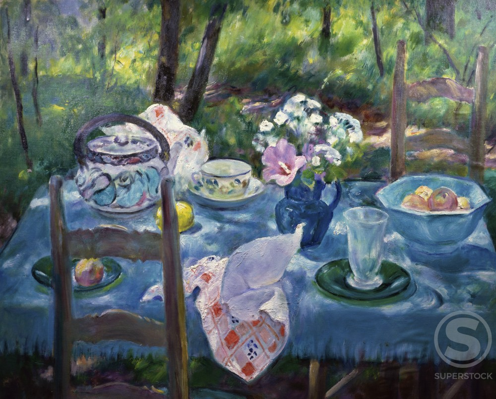 Stock Photo: 849-11084 Tea Time by Martha Walter, oil on wood panel, 1875-1976, USA, Pennsylvania, Philadelphia, David David Gallery