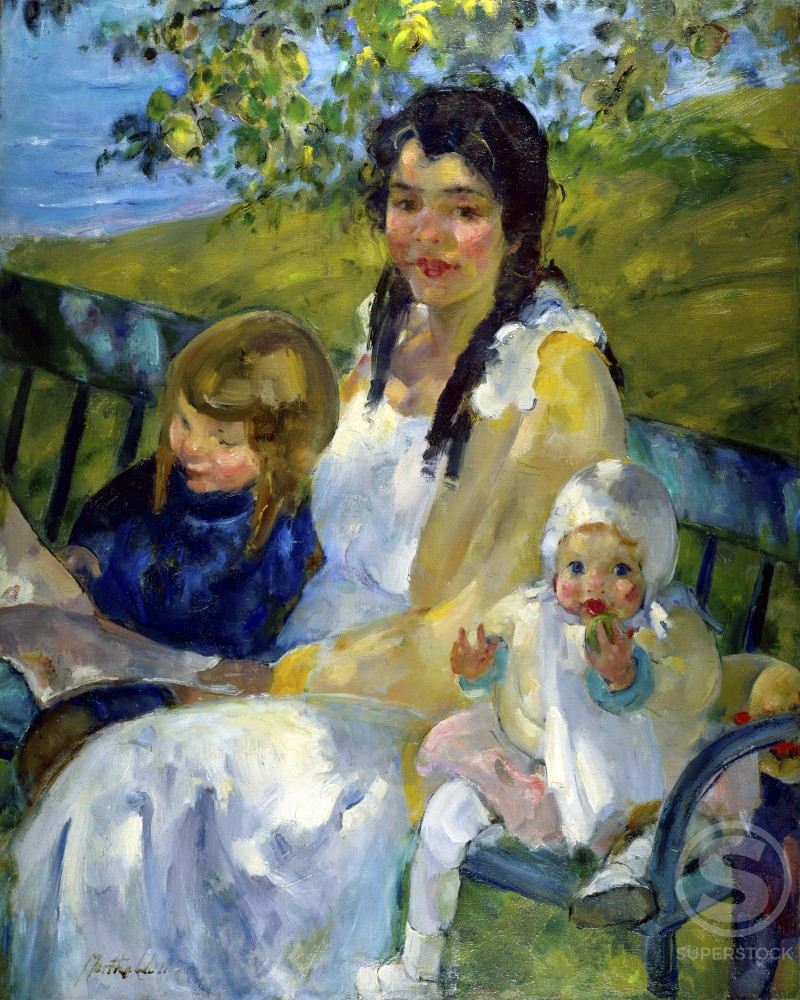 Stock Photo: 849-11123 Reading on the Sunlit Bench by Martha Walter, oil on canvas, 1917, 1875-1976, USA, Pennsylvania, Philadelphia, David David Gallery