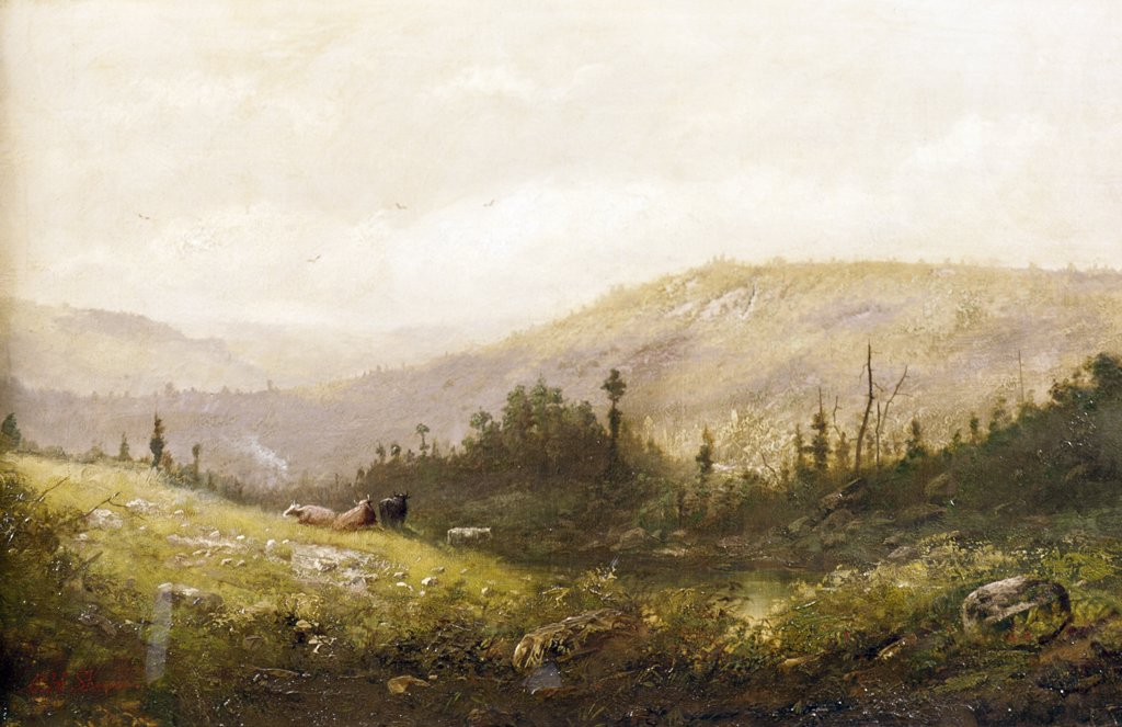 Stock Photo: 849-11139 Country Hillside by Christopher Shearer,  oil on canvas,  (1840-1926),  USA,  Pennsylvania,  Philadelphia,  David David Gallery
