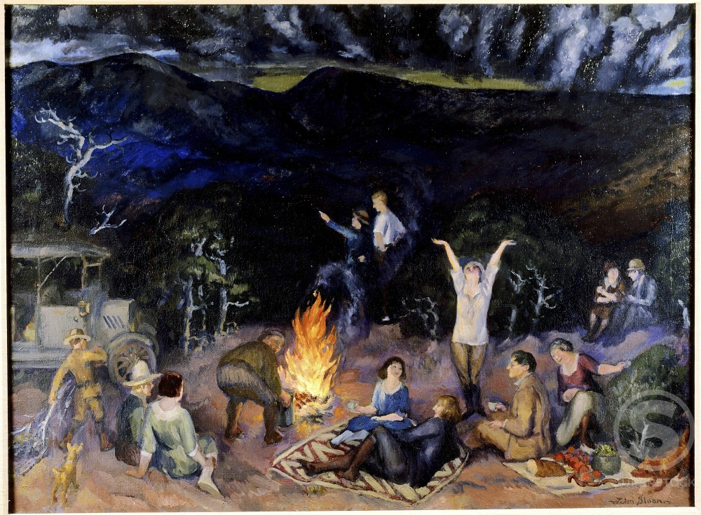 Picnic on the Ridge by John Sloan, 1920, 1871-1951, USA, Pennsylvania, Philadelphia, David David Gallery : Stock Photo
