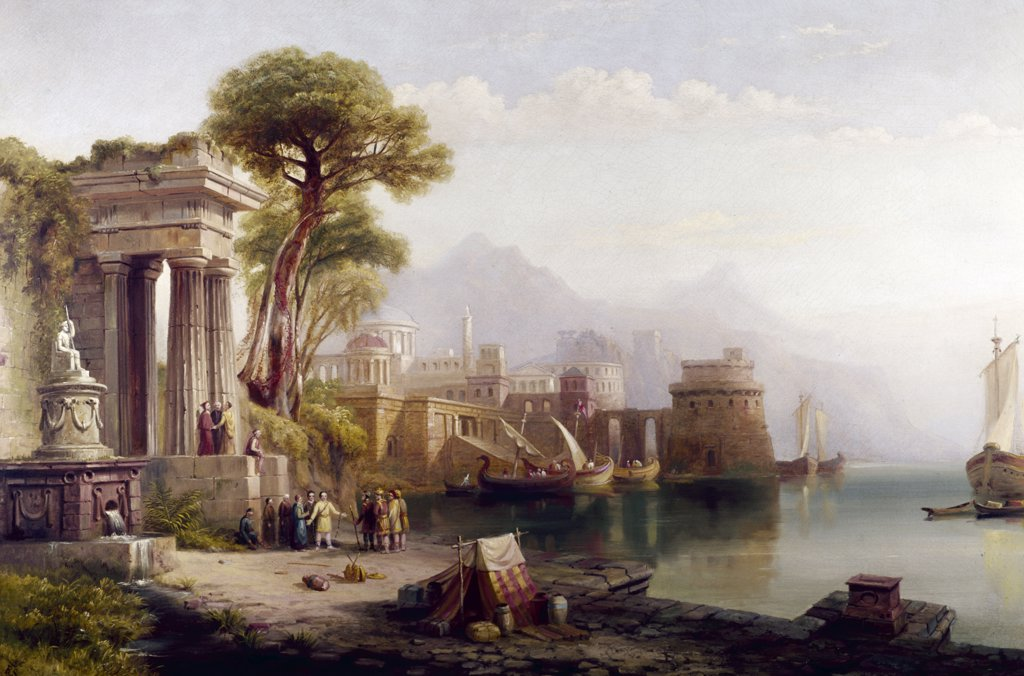 Stock Photo: 849-11279 The Ruins by Russell Smith,  oil painting,  1812-1896,  USA,  Pennsylvania,  Philadelphia,  David David Gallery